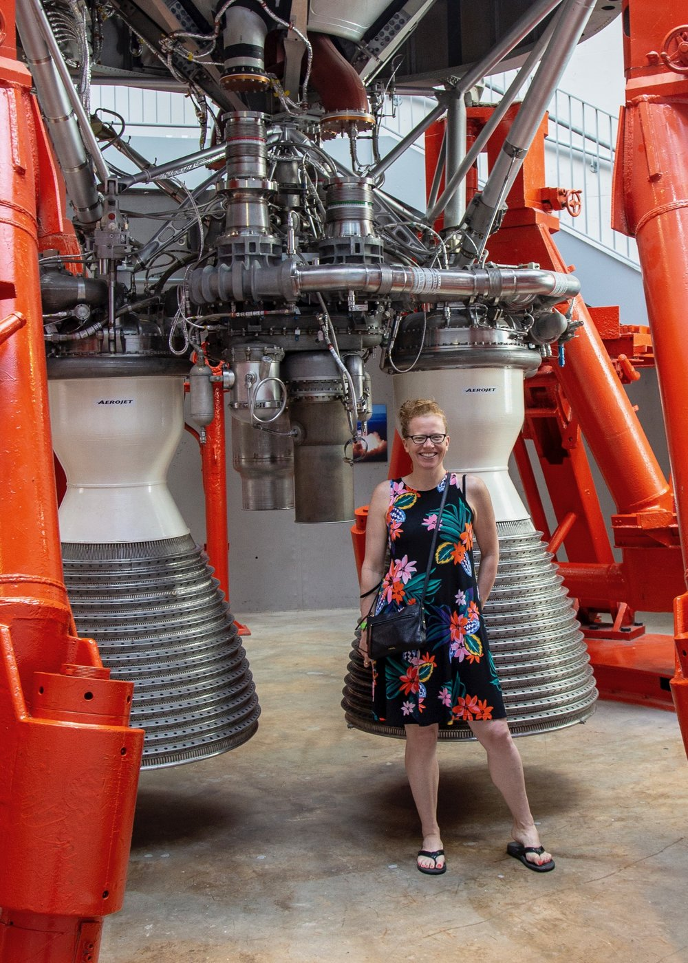 Justine providing some scale for the Titan II engines