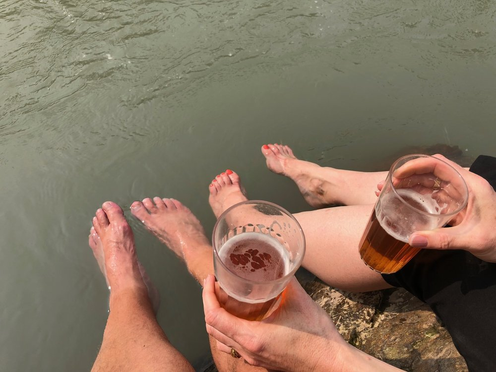 We spent some time down by the river, cooling off in the glacier-fed water.