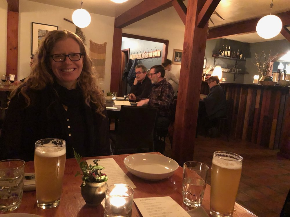 Dinner at Pilgrimme for Justine's birthday.