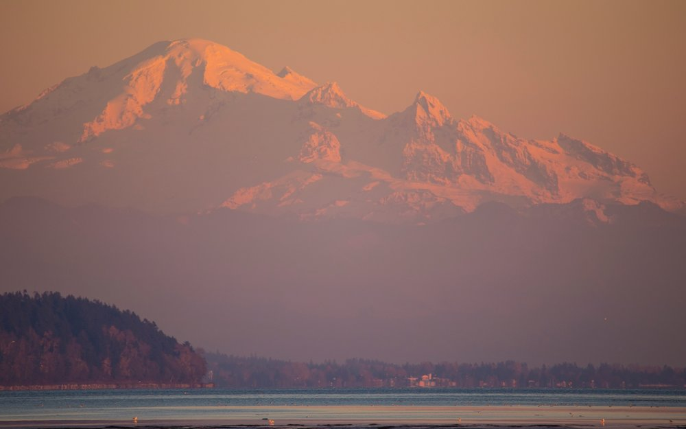 As the sun set, we were treated to a glowing Mount Baker.