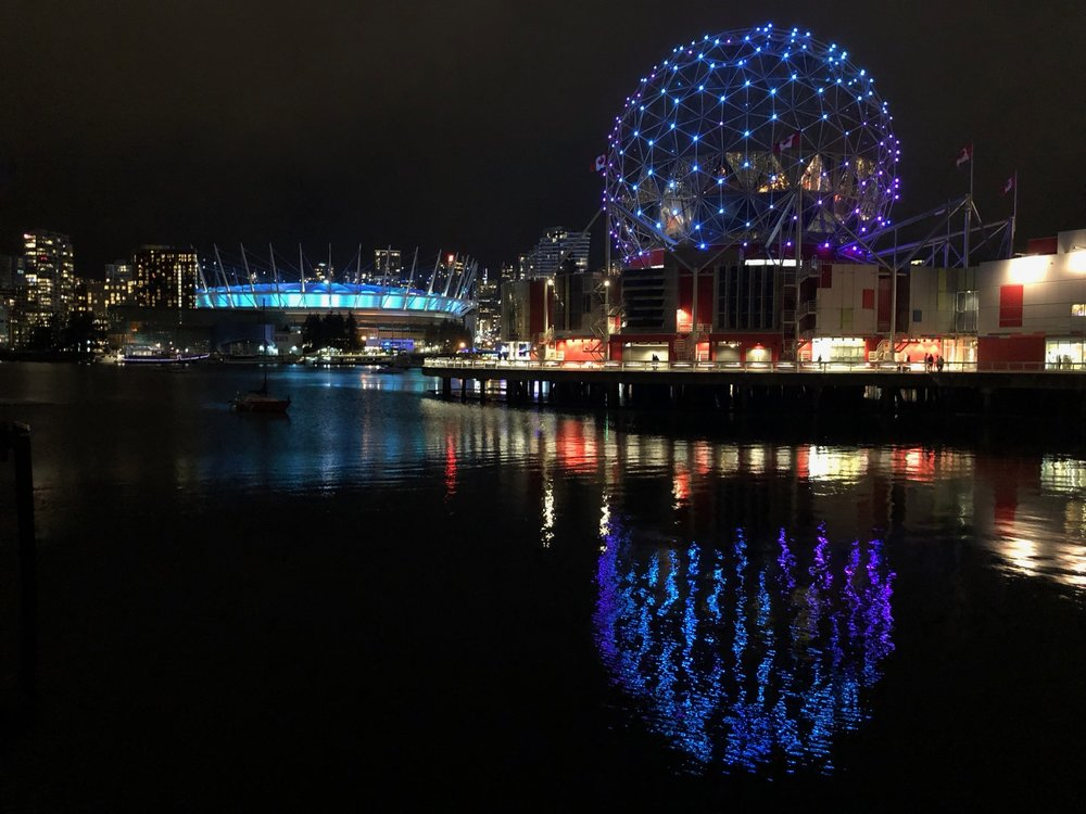 BC Place and Science World - not quite festive colours, but still pretty.