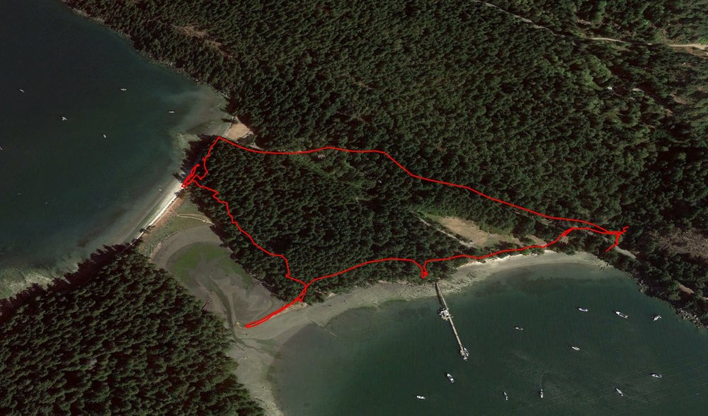 A map of our hike around Montague Harbour.