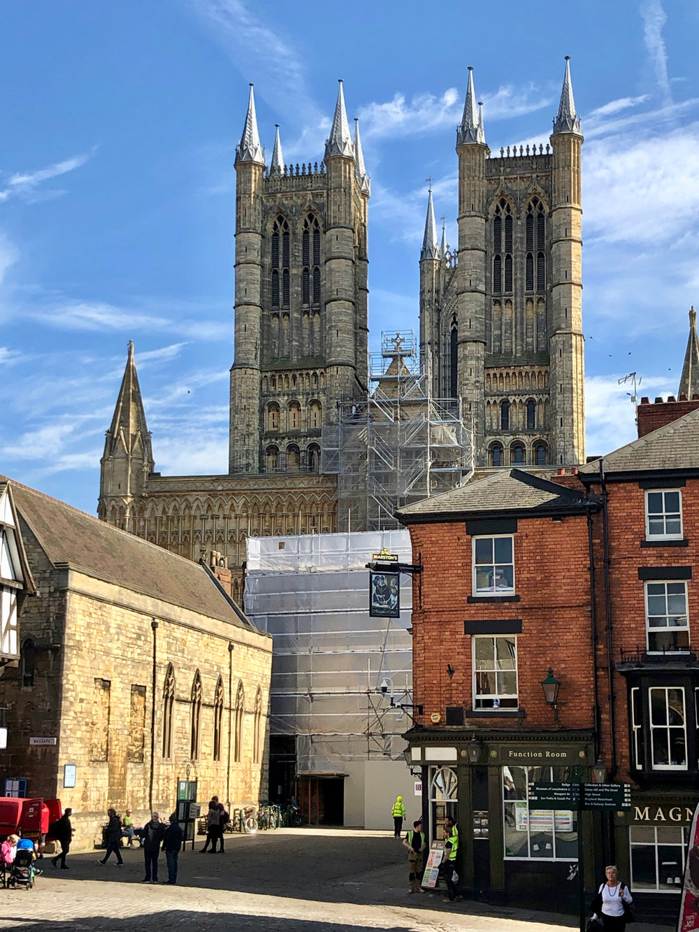 Lincoln Cathedral from the old town center.