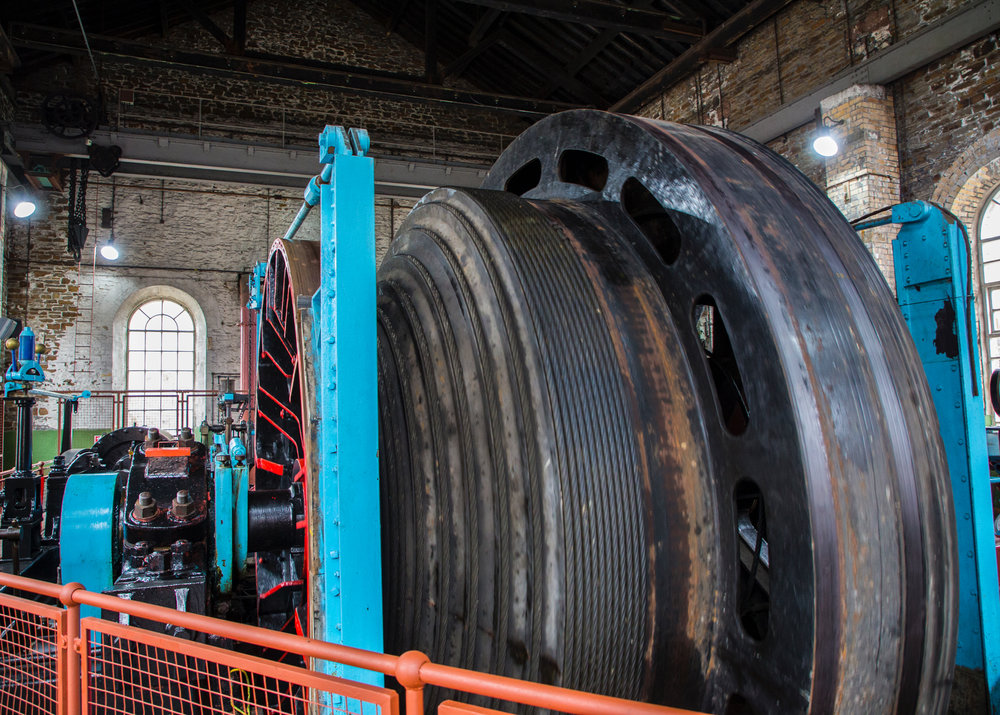 One of the huge spools of steel cable for the elevators.