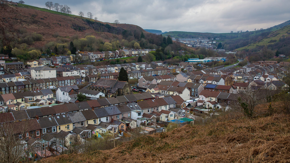 Looking down onto the old town. I'm not sure if I quite have this right, but I think the name of it is Ynyshir.