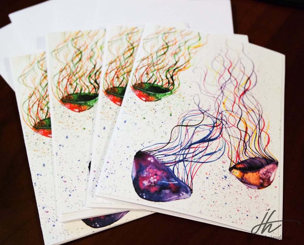 Handmade greeting cards featuring my watercolor jellyfish painting