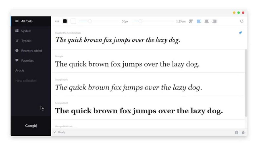 Fontbase - A lightweight but powerful font organizer. With over 5000 fonts, this is key.