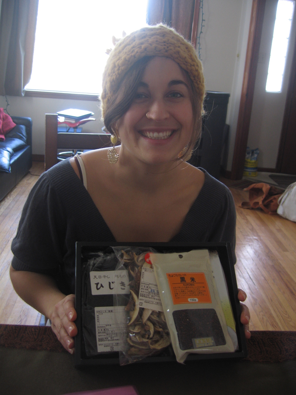 Me, super happy because I found a Japanese parcel in the mailbox!
