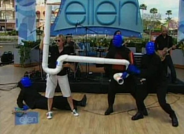 Performing with Blue Man Group on Ellen.