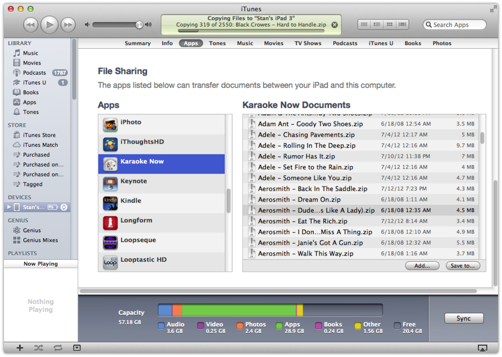 Some apps enable you to upload your MP3+G tracks via FTP, but the experience is typically complex and crash-prone. Using the File Transfers section of iTunes is slow but reliable: just drag your MPG+3 library into the app's Documents window and walk away.