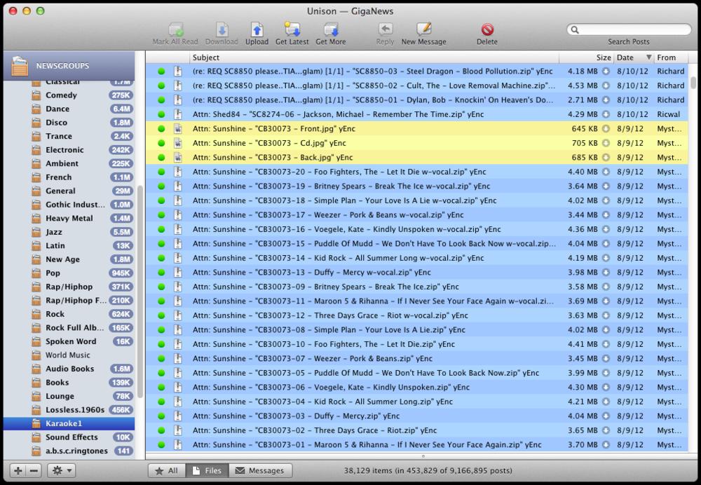 alt.binaries.sounds.karaoke, as viewed through Unison, a USENET client for Mac.