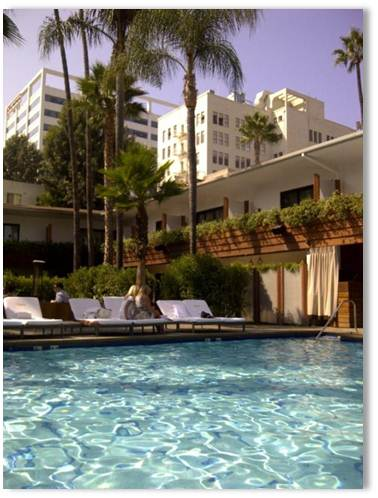Having my breakfast of fruit and granola next to the David Hockney pool at the Hollywood Roosevelt hotel preparing for our meeting with CBS