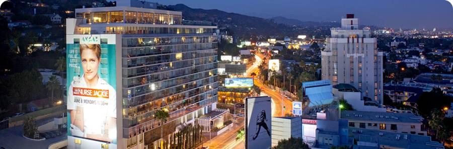 View of the Hollywood Hills and the Andaz Hotel on Sunset, where I stayed to pitch THE NEXT BIG DREAM to production companies