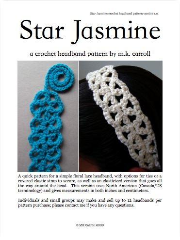 Star Jasmine crochet headband pattern
