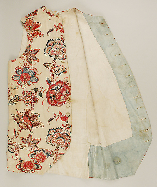 Waistcoat, French. circa 1770 - 90, cotton fabric (India?). In the collection of the Metropolitan Museum of Art.