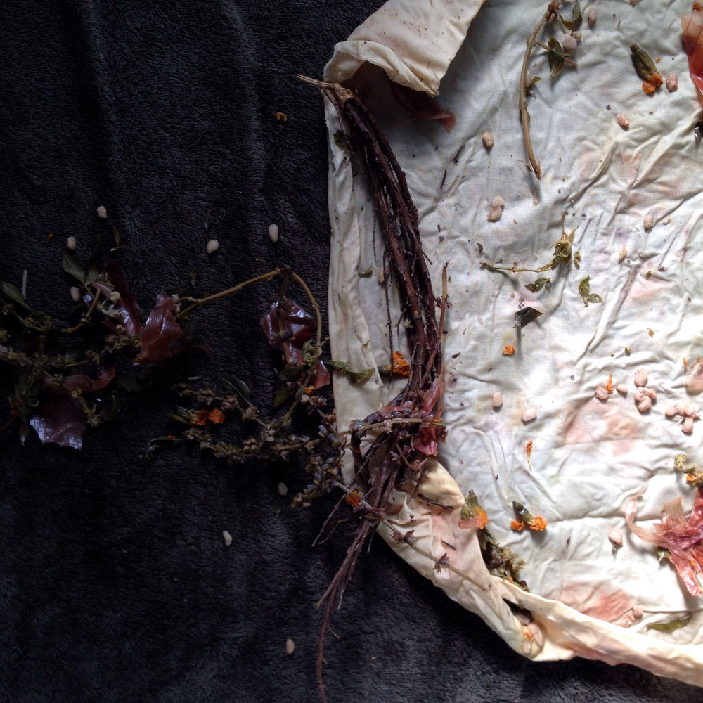Cotton muslin with purple basil, yellow onion skins, marigold flowers, pomegranate rinds and pomegranate arils (seeds).