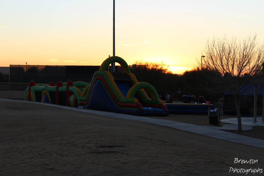 The bouncy castle in the sunset.