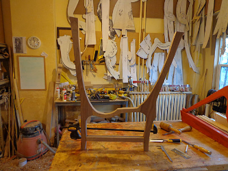 A pictures of the skeleton of Lorna's Silver Lyre Replica built by David Kortier