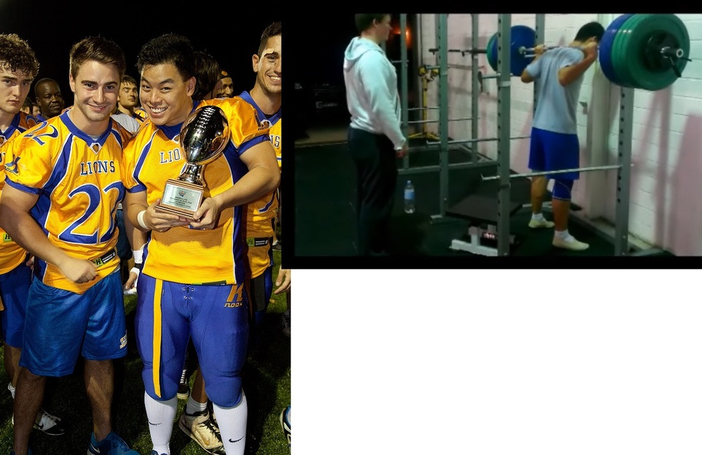 Kevin with the Sydney UNI team winning the uni gridiron grand final 2012
