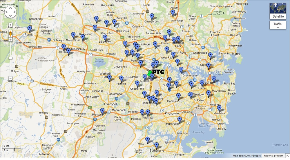 Map of Suburbs that ptc members reside relative to PTC Sydney.
