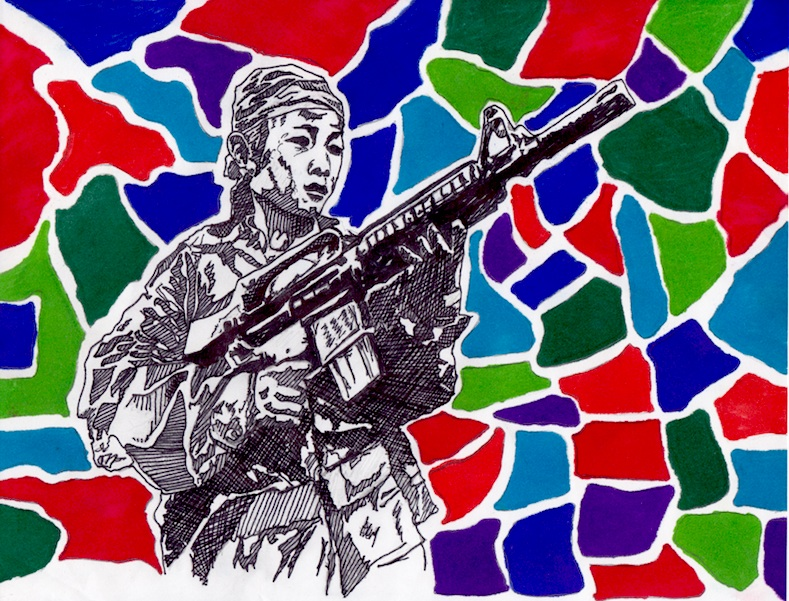 """CRS - Child Rebel Soldier."" CRS. (Pen & marker, 8x11) Purchase Inquiry"