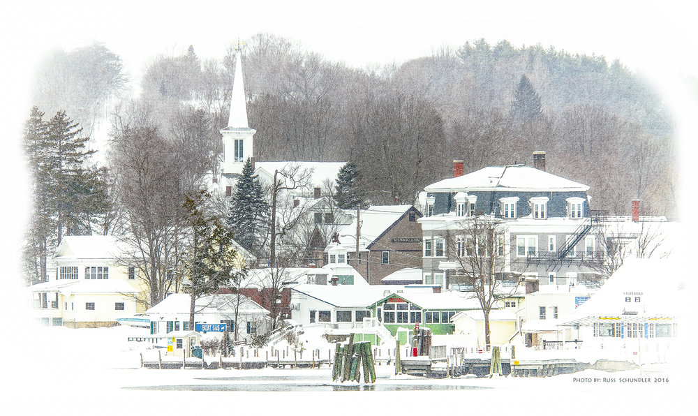 Wolfeboro Town Docks in Snow Storm
