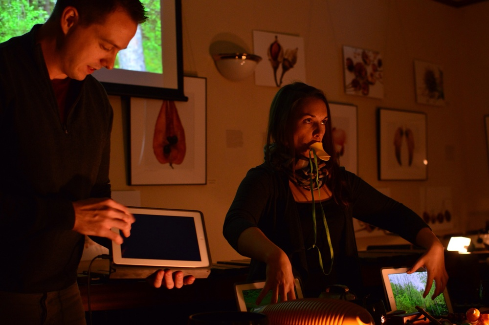 Rehearsing with iPads and duck calls for our concerts at the Arnold Arboretum in Boston.