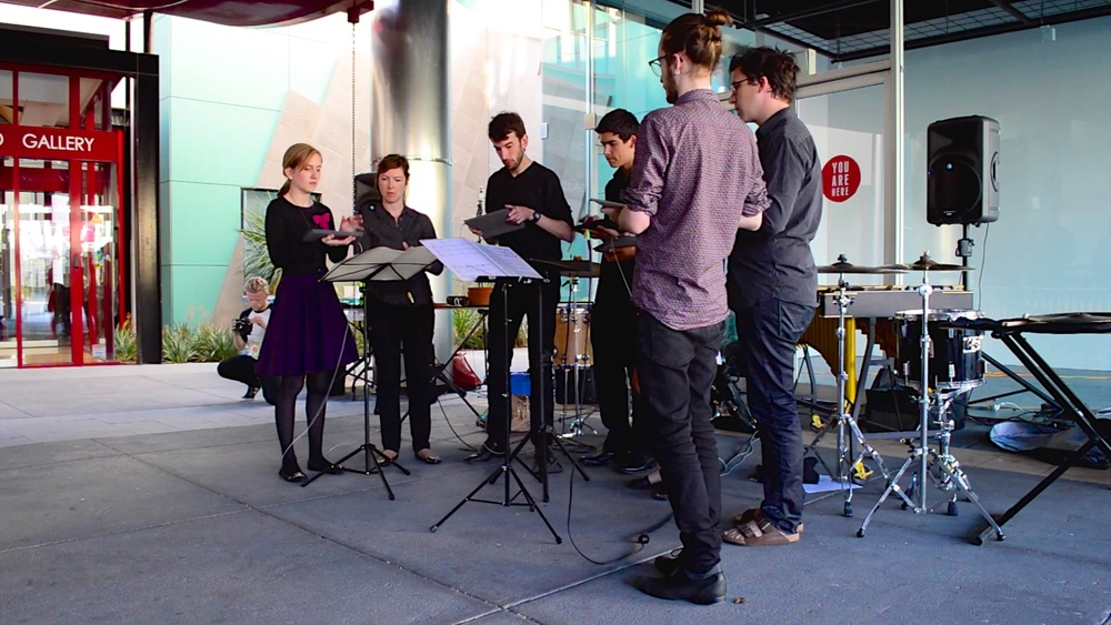 Ensemble Metatone performing on iPads as a septet.