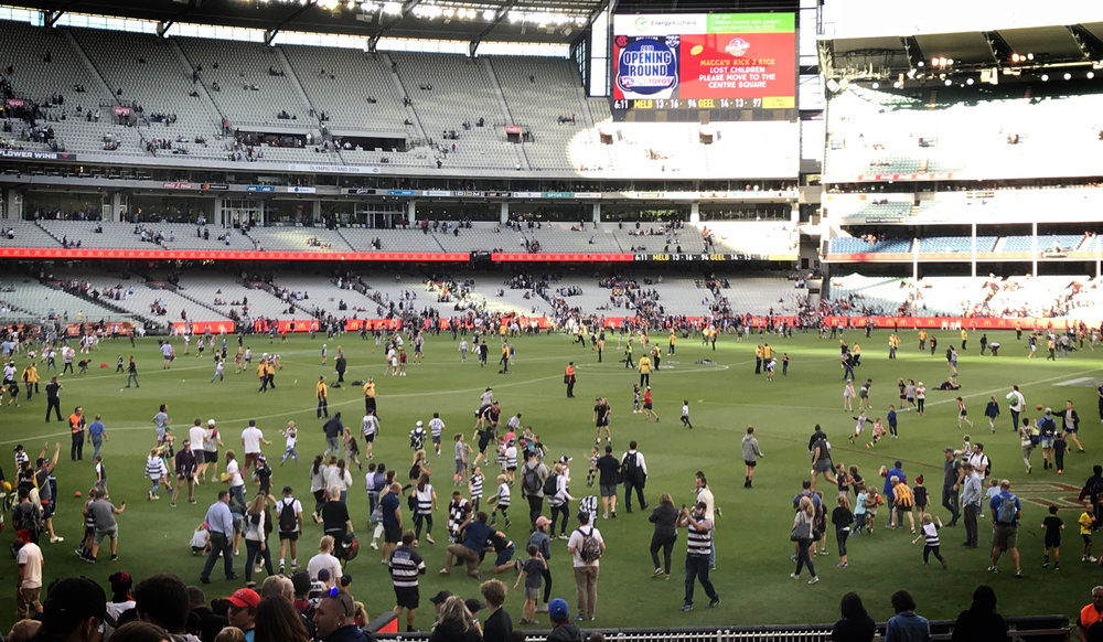 Kids are again allowed on the MCG after the game for kick to kick. Fantastic.
