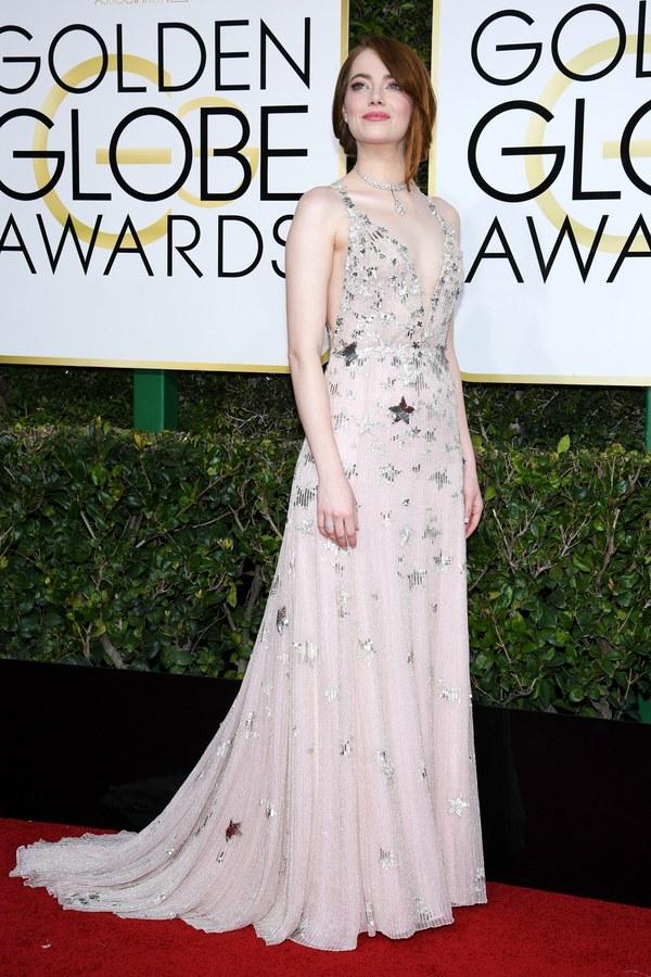 Emma Stone in Valentino via, Kevork Djansezian/NBC/Getty Images