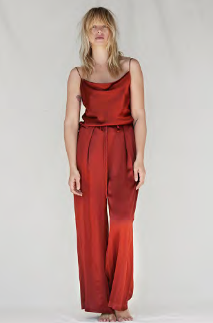 NATALIJA Draped silk camisole and wide-leg silk pant - Rust