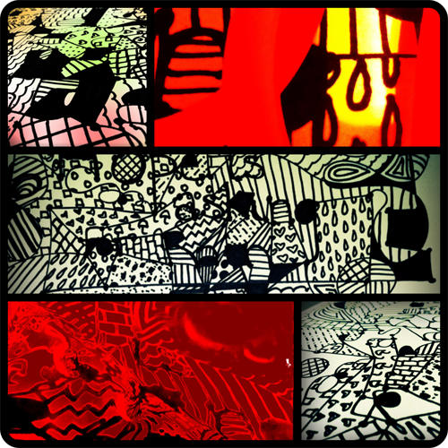 iPhone collage: sophisticated doodle in different stages of the creative process. By Danielle Ambrose