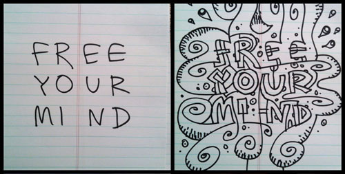 Brian Brasher. Creative Doodle. Before and after.