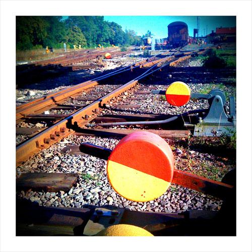 iPhone photography: Train tracks at Västervik railway station.