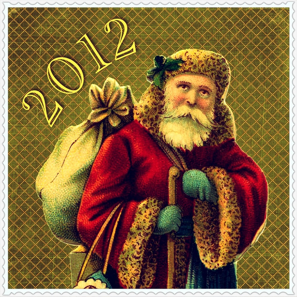 iPhone collage: Vintage Happy Holidays Card by designer Jennifer Bishop.