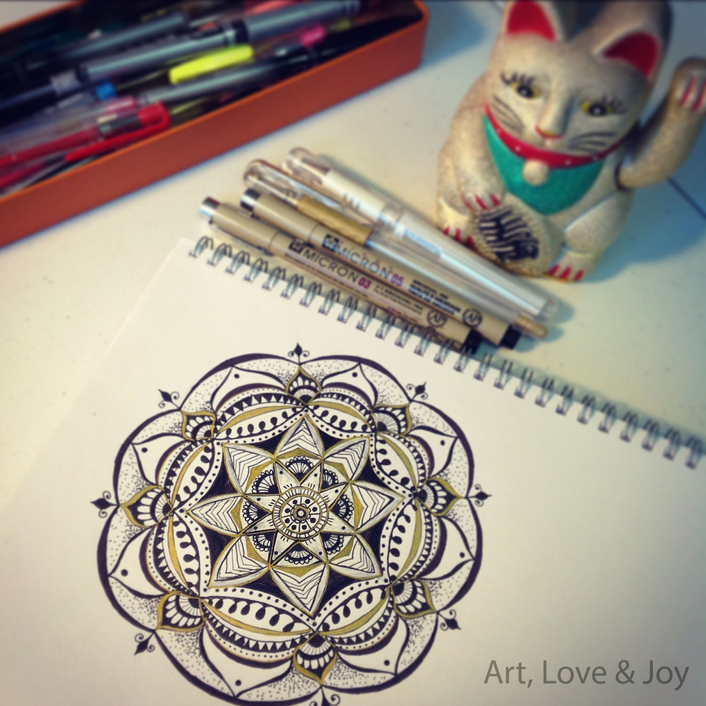 ALJ Mandala with Lucky Cat (hand drawn, freehand) by Wini Dougall of Art, Love & Joy.