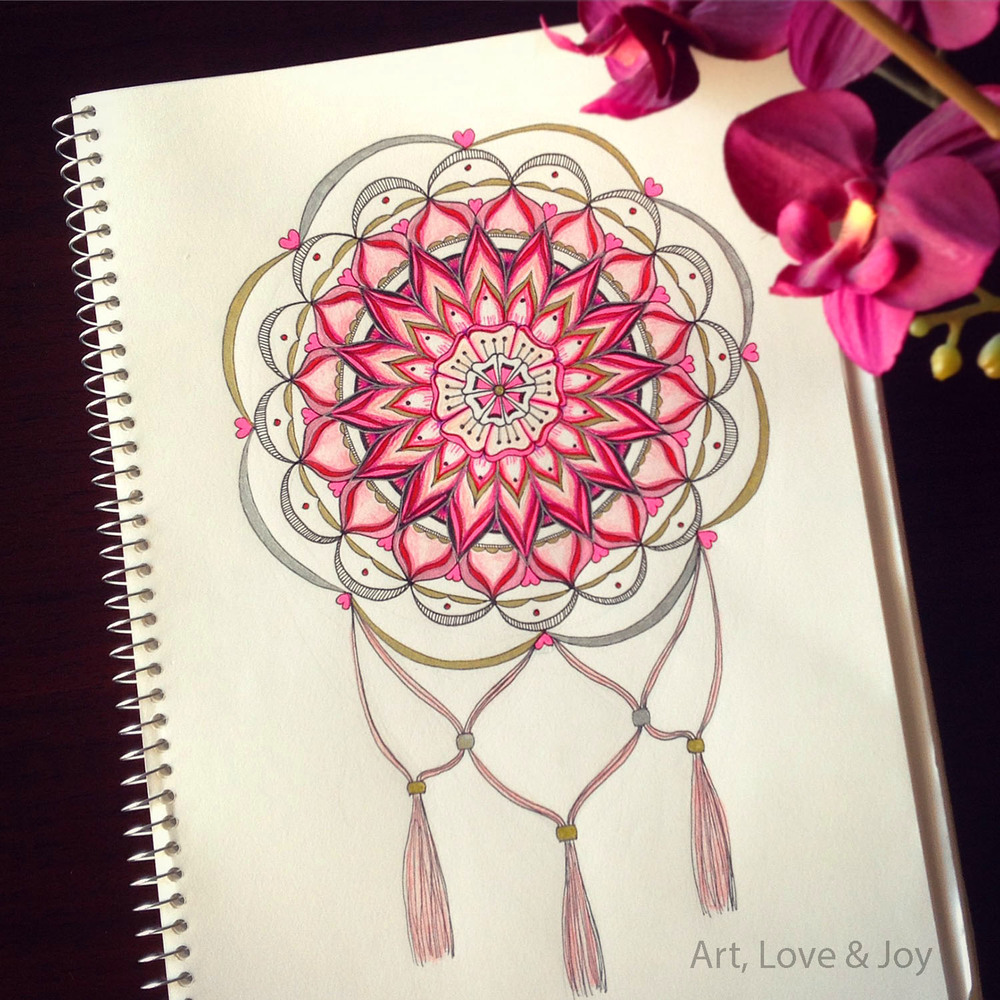 ALJ Hand drawn Mandala by Wini Dougall of Art, Love & Joy.