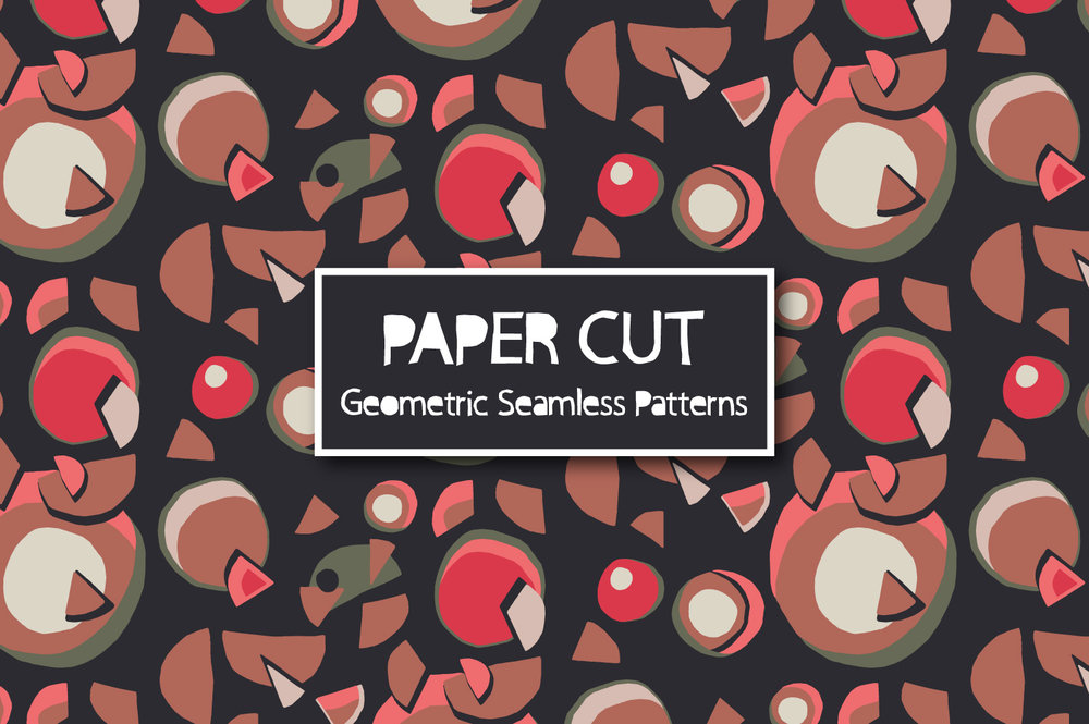 Paper Cut Geometric Seamless Patterns by Kate England.