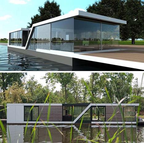 Half-Floating Home: Semi-Submerged Two-Story Houseboat « Dornob