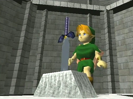 Link discovers the Master Sword on the N64