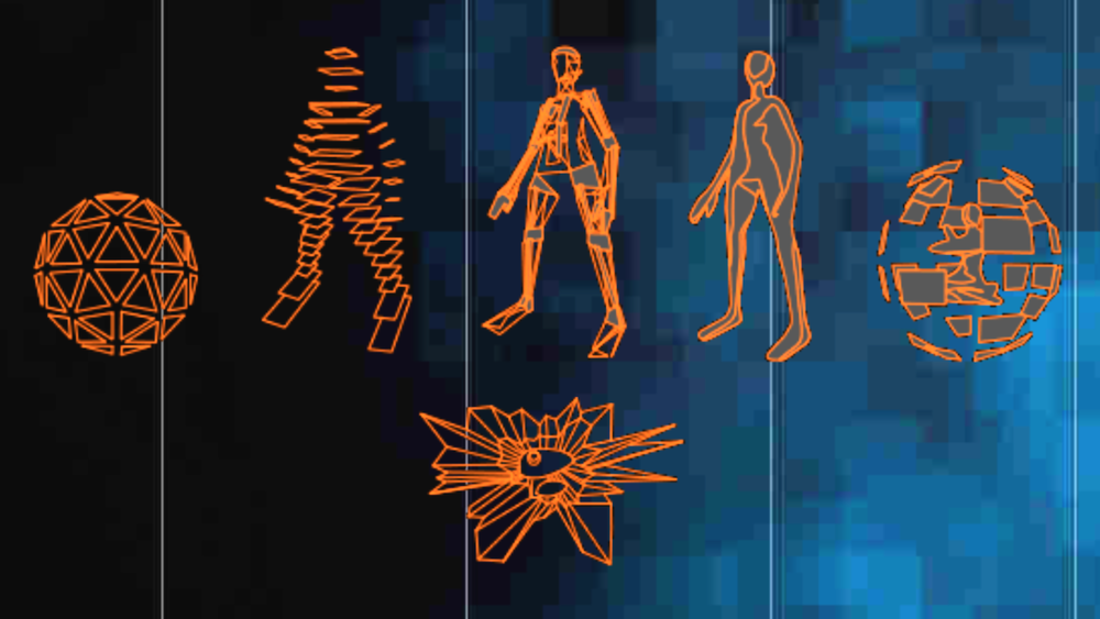 The six forms of the player character as depicted on  Club Sega , where they have a good write-up of the game