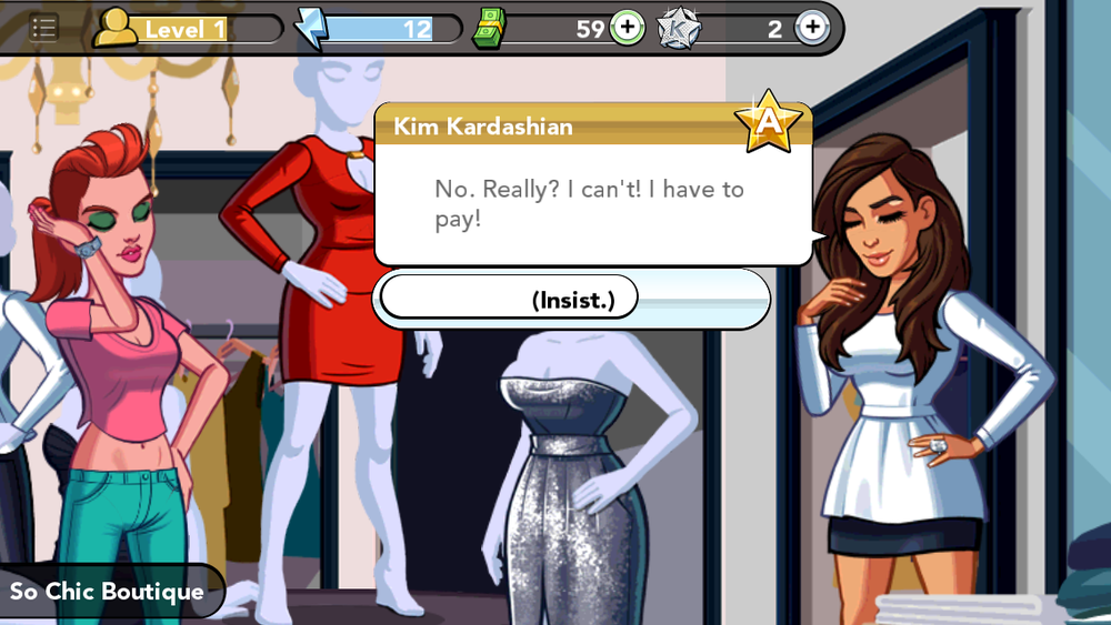 Kim feebly requests to pay for her dress while giving me no option but to insist that she doesn't. We got off on the wrong foot.