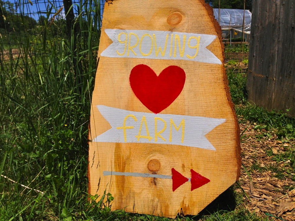 Growing Heart Farm sign on the path from the train station