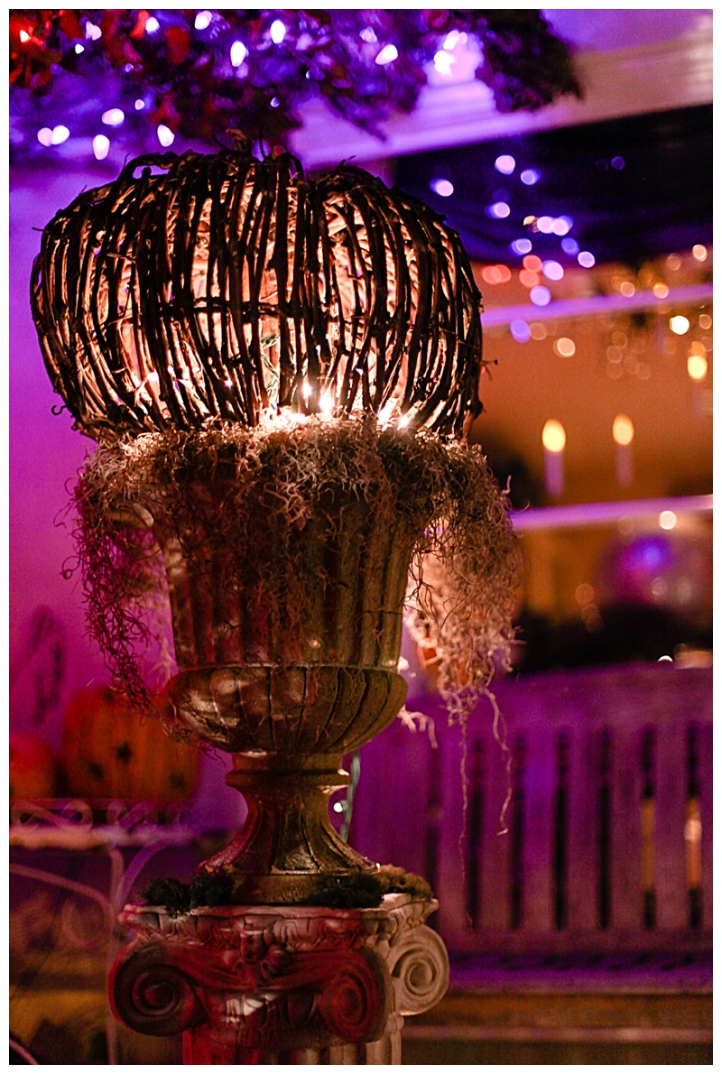 I wanted to create an entry way that would make the house look like a haunted cottage.  I found the rattan pumpkins at Home Goods and stuffed a strand of white lights into them to make them glow. Much more cost effective than similar ones I've seen at Pottery Barn. The urn is from Big Lots. I spray glued Spanish moss to the top for an eerie effect and added little touches of green moss for contrast. The resin columns are Craigslist finds. (HINT: Craigslist is the best for finding all kinds of supplies and at a fraction of the cost) You can also find the resin columns at Michaels or other floral/craft stores. Not shown on the columns are winding fall foliage that I purchased at Big Lots as well.
