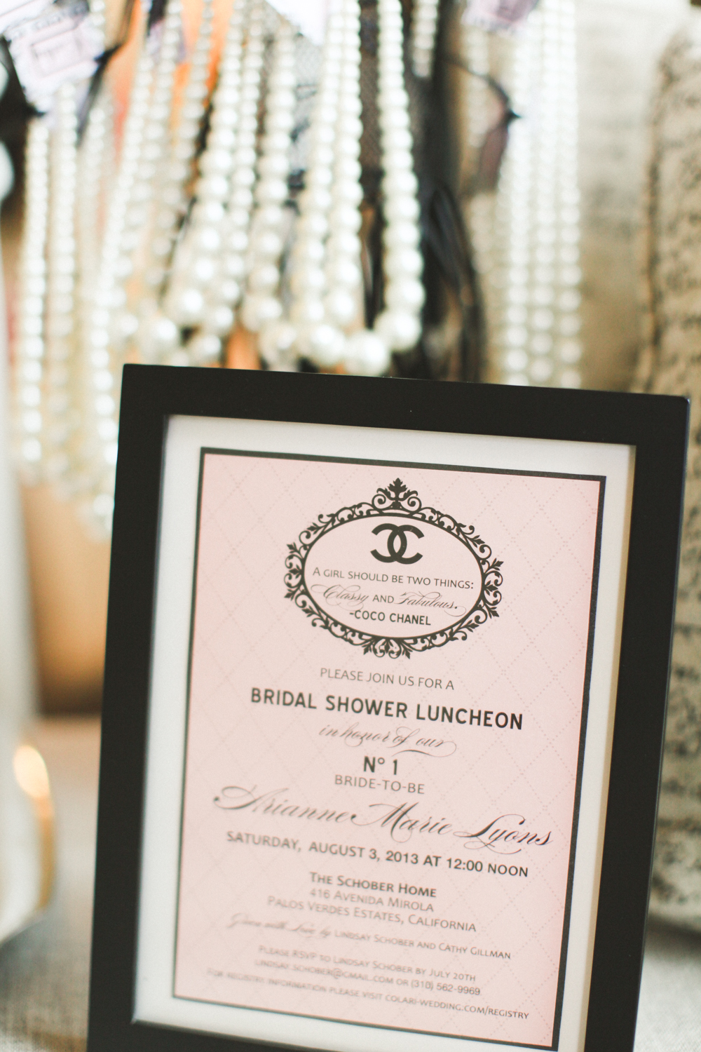 A framed invitation is a great way to preserve the memory and bring a little something extra to your decor.