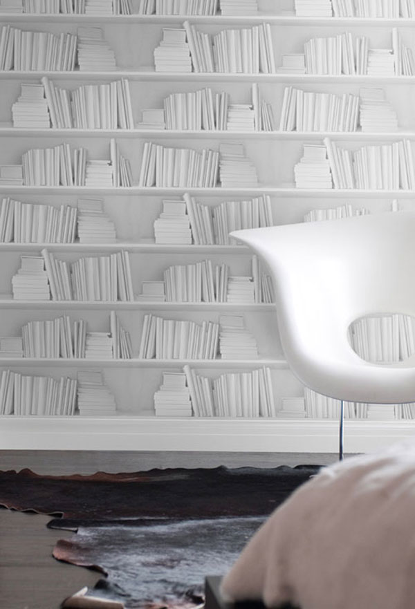 White Bookshelf Wallpaper designed by Young & Battaglia. Click on image to view full post at Design Yearbook.