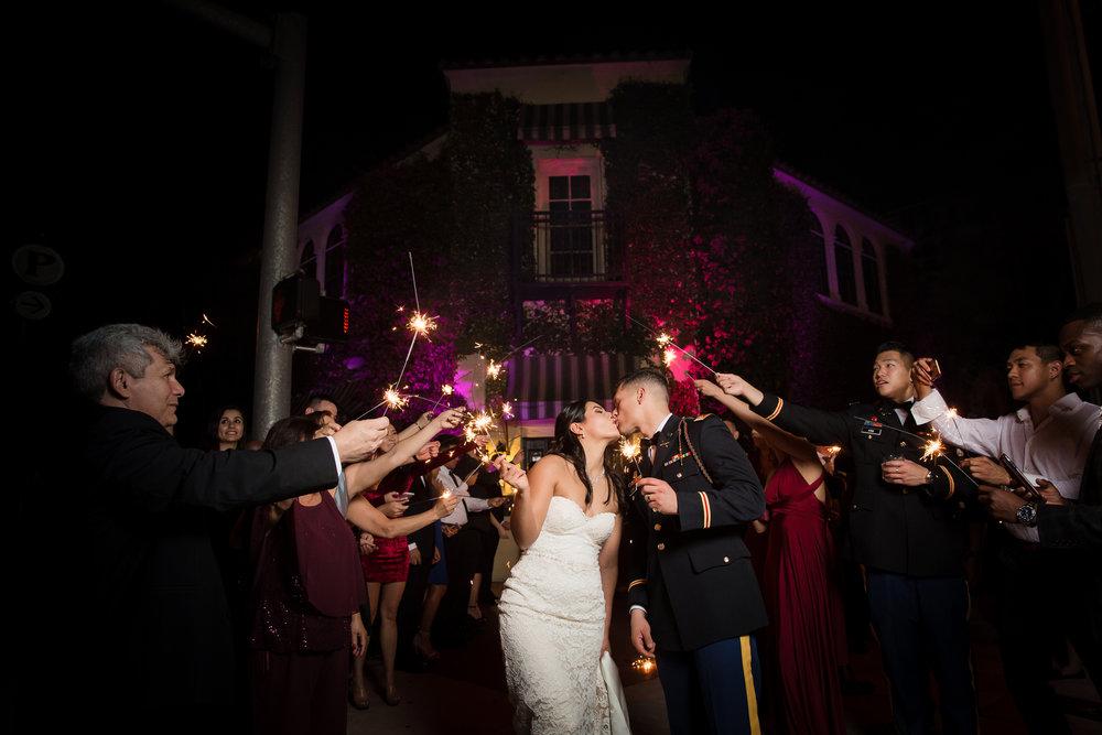 Coral La Jolla Ballroom Wedding Sparkler Exit