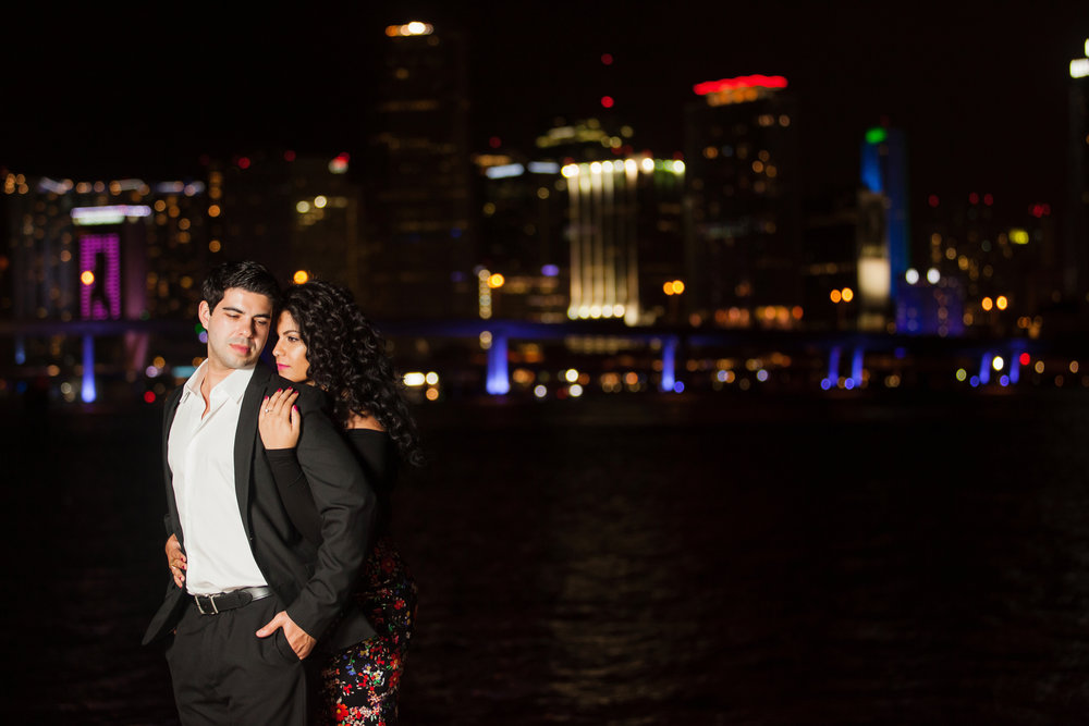 Downtown engagement session at night