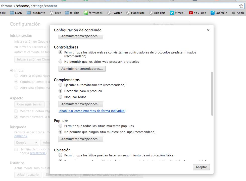 Configuración de contenido en Google Chrome.