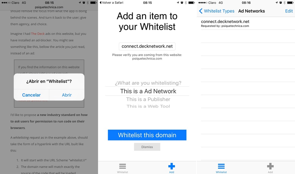 The Whitelisting process: request, accept, and done.